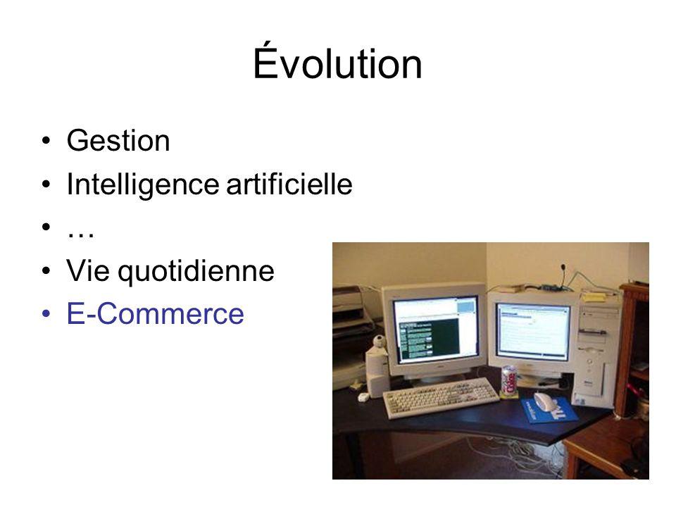 Évolution Gestion Intelligence artificielle … Vie quotidienne E-Commerce