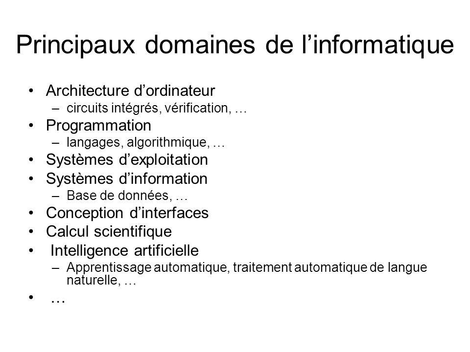 Principaux domaines de l'informatique Architecture d'ordinateur –circuits intégrés, vérification, … Programmation –langages, algorithmique, … Systèmes