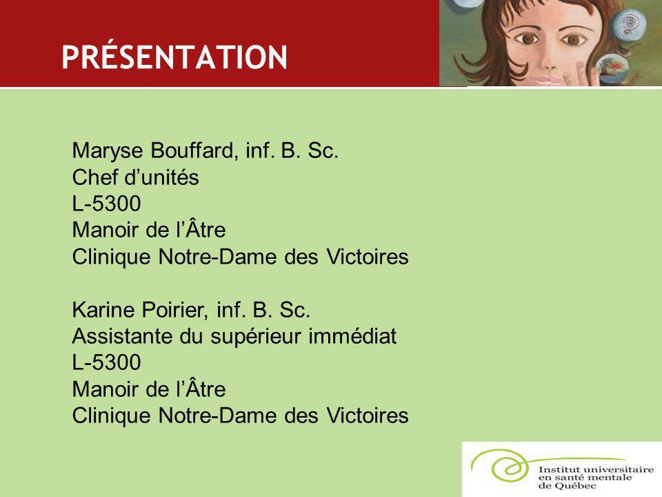 PRÉSENTATION Maryse Bouffard, inf. B. Sc. Chef d'unités L-5300 Manoir de l'Âtre Clinique Notre-Dame des Victoires Karine Poirier, inf. B. Sc. Assistan