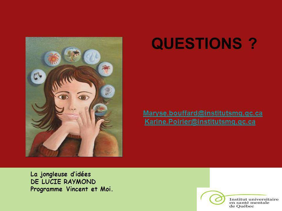 QUESTIONS ? Maryse.bouffard@institutsmq.qc.ca Karine.Poirier@institutsmq.qc.ca La jongleuse d'idées DE LUCIE RAYMOND Programme Vincent et Moi.