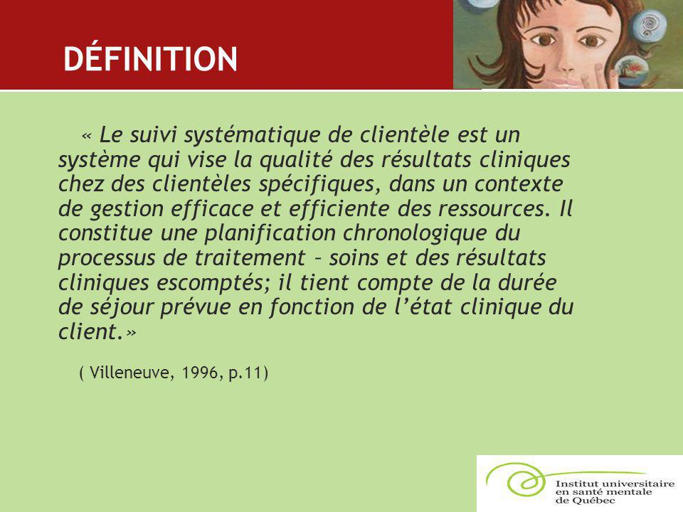 DÉFINITION « Le suivi systématique de clientèle est un système qui vise la qualité des résultats cliniques chez des clientèles spécifiques, dans un co