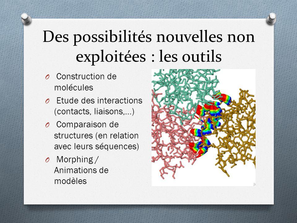 Des possibilités nouvelles non exploitées : les outils O Construction de molécules O Etude des interactions (contacts, liaisons,…) O Comparaison de st