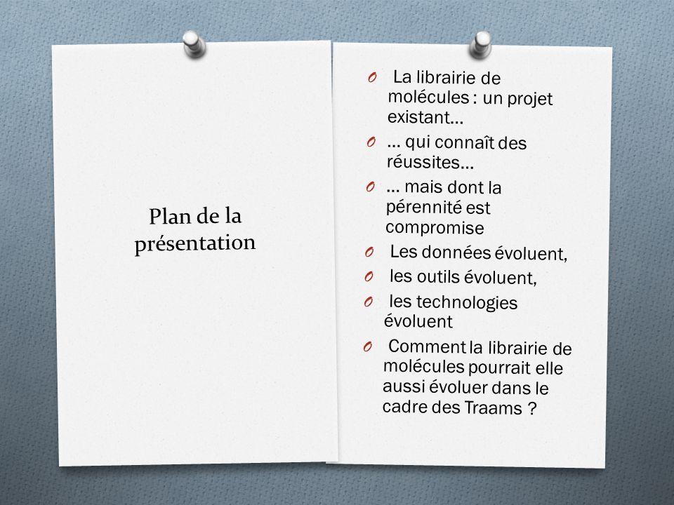 Plan de la présentation O La librairie de molécules : un projet existant… O … qui connaît des réussites… O … mais dont la pérennité est compromise O L