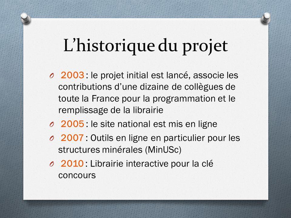 L'historique du projet O 2003 : le projet initial est lancé, associe les contributions d'une dizaine de collègues de toute la France pour la programma