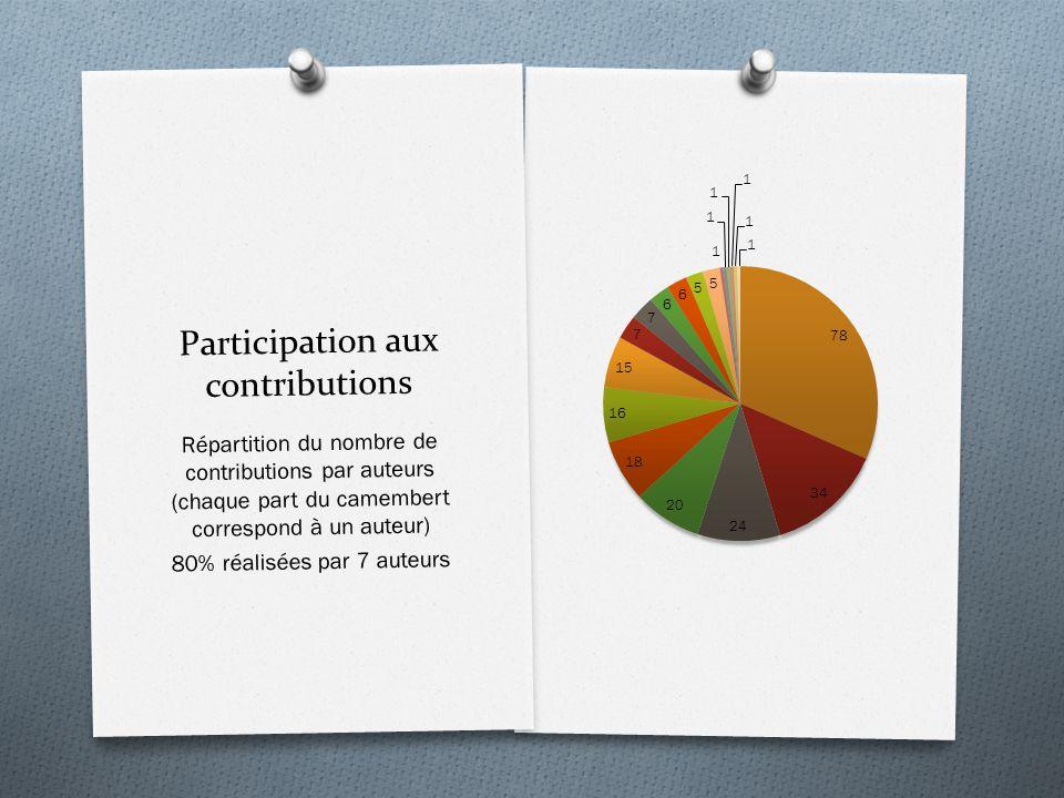 Participation aux contributions Répartition du nombre de contributions par auteurs (chaque part du camembert correspond à un auteur) 80% réalisées par