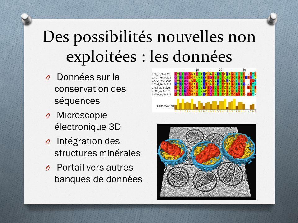 Des possibilités nouvelles non exploitées : les données O Données sur la conservation des séquences O Microscopie électronique 3D O Intégration des st