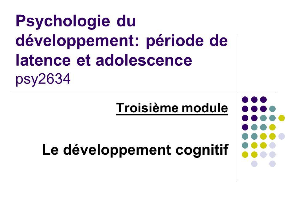 Psychologie du développement: période de latence et adolescence psy2634 Troisième module Le développement cognitif