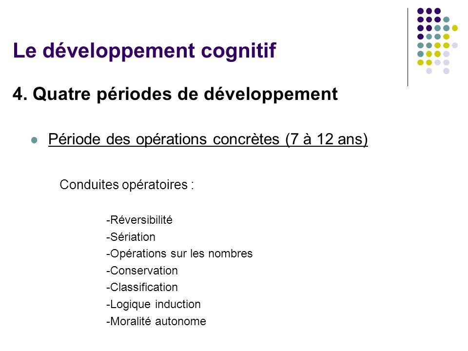 4. Quatre périodes de développement Période des opérations concrètes (7 à 12 ans) Conduites opératoires : -Réversibilité -Sériation -Opérations sur le