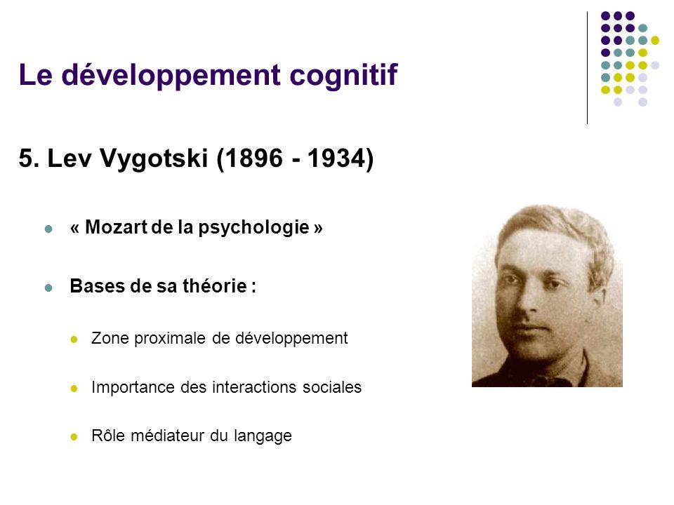 5. Lev Vygotski (1896 - 1934) « Mozart de la psychologie » Bases de sa théorie : Zone proximale de développement Importance des interactions sociales