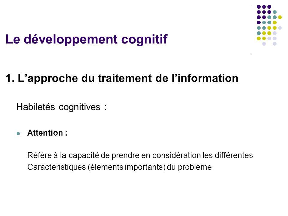 1. L'approche du traitement de l'information Habiletés cognitives : Attention : Réfère à la capacité de prendre en considération les différentes Carac