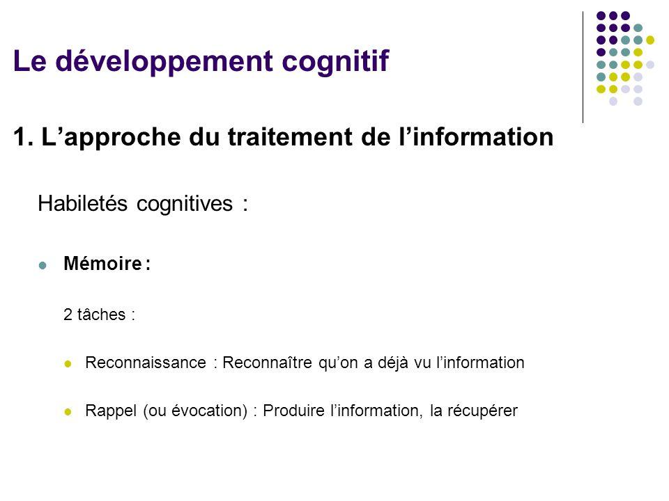 1. L'approche du traitement de l'information Habiletés cognitives : Mémoire : 2 tâches : Reconnaissance : Reconnaître qu'on a déjà vu l'information Ra