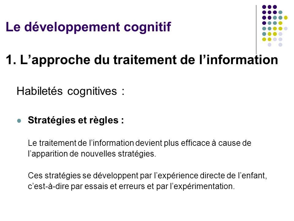 1. L'approche du traitement de l'information Habiletés cognitives : Stratégies et règles : Le traitement de l'information devient plus efficace à caus