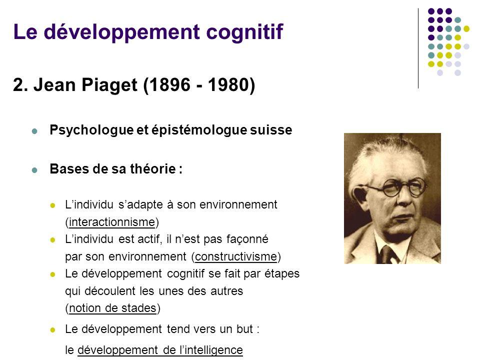 2. Jean Piaget (1896 - 1980) Psychologue et épistémologue suisse Bases de sa théorie : L'individu s'adapte à son environnement (interactionnisme) L'in