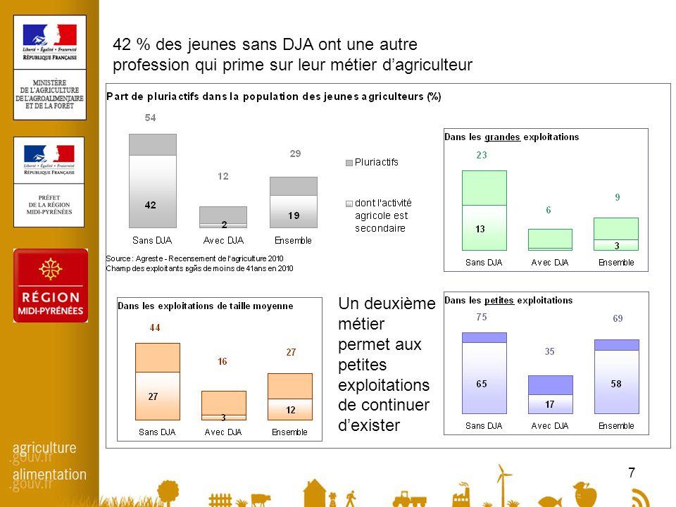 7 42 % des jeunes sans DJA ont une autre profession qui prime sur leur métier d'agriculteur Un deuxième métier permet aux petites exploitations de continuer d'exister