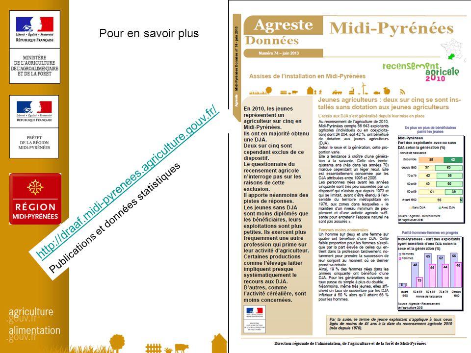 9 Pour en savoir plus http://draaf.midi-pyrenees.agriculture.gouv.fr/ Publications et données statistiques