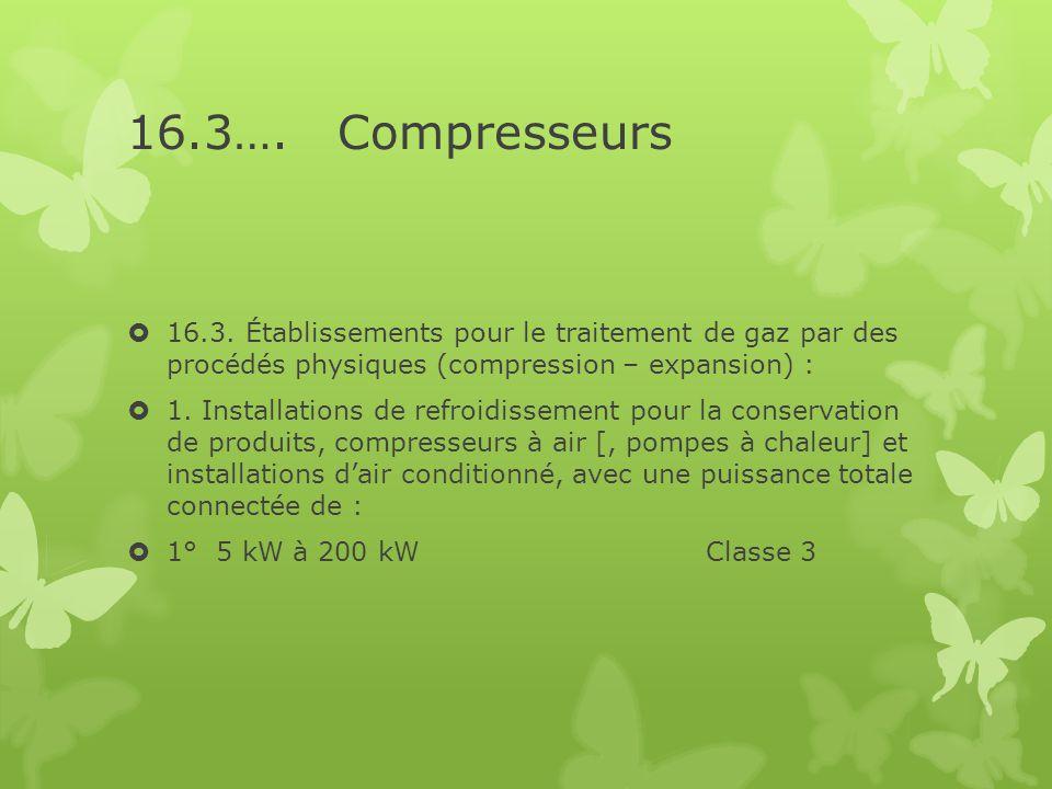 16.3…. Compresseurs  16.3. Établissements pour le traitement de gaz par des procédés physiques (compression – expansion) :  1. Installations de refr