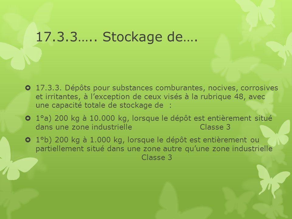 17.3.3….. Stockage de….  17.3.3. Dépôts pour substances comburantes, nocives, corrosives et irritantes, à l'exception de ceux visés à la rubrique 48,