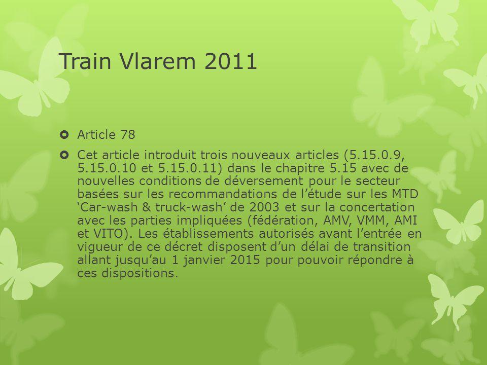 Train Vlarem 2011  Article 78  Cet article introduit trois nouveaux articles (5.15.0.9, 5.15.0.10 et 5.15.0.11) dans le chapitre 5.15 avec de nouvel