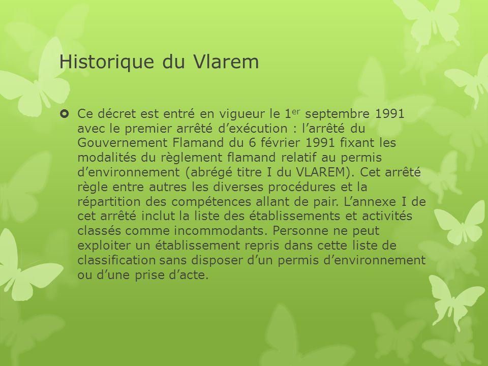 Historique du Vlarem  Ce décret est entré en vigueur le 1 er septembre 1991 avec le premier arrêté d'exécution : l'arrêté du Gouvernement Flamand du