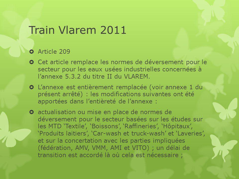 Train Vlarem 2011  Article 209  Cet article remplace les normes de déversement pour le secteur pour les eaux usées industrielles concernées à l'anne