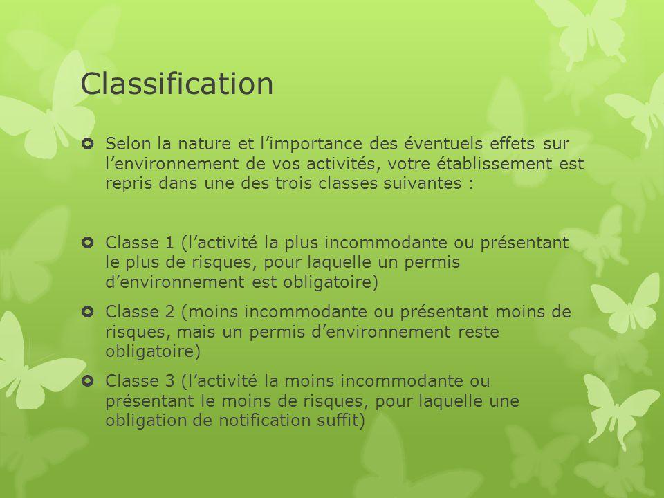 Classification  Selon la nature et l'importance des éventuels effets sur l'environnement de vos activités, votre établissement est repris dans une de