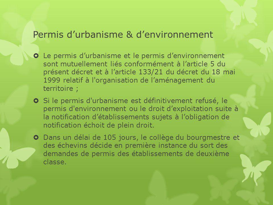 Permis d'urbanisme & d'environnement  Le permis d'urbanisme et le permis d'environnement sont mutuellement liés conformément à l'article 5 du présent