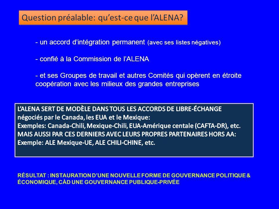 - un accord d'intégration permanent (avec ses listes négatives) - confié à la Commission de l'ALENA - et ses Groupes de travail et autres Comités qui opèrent en étroite coopération avec les milieux des grandes entreprises Question préalable: qu'est-ce que l'ALENA