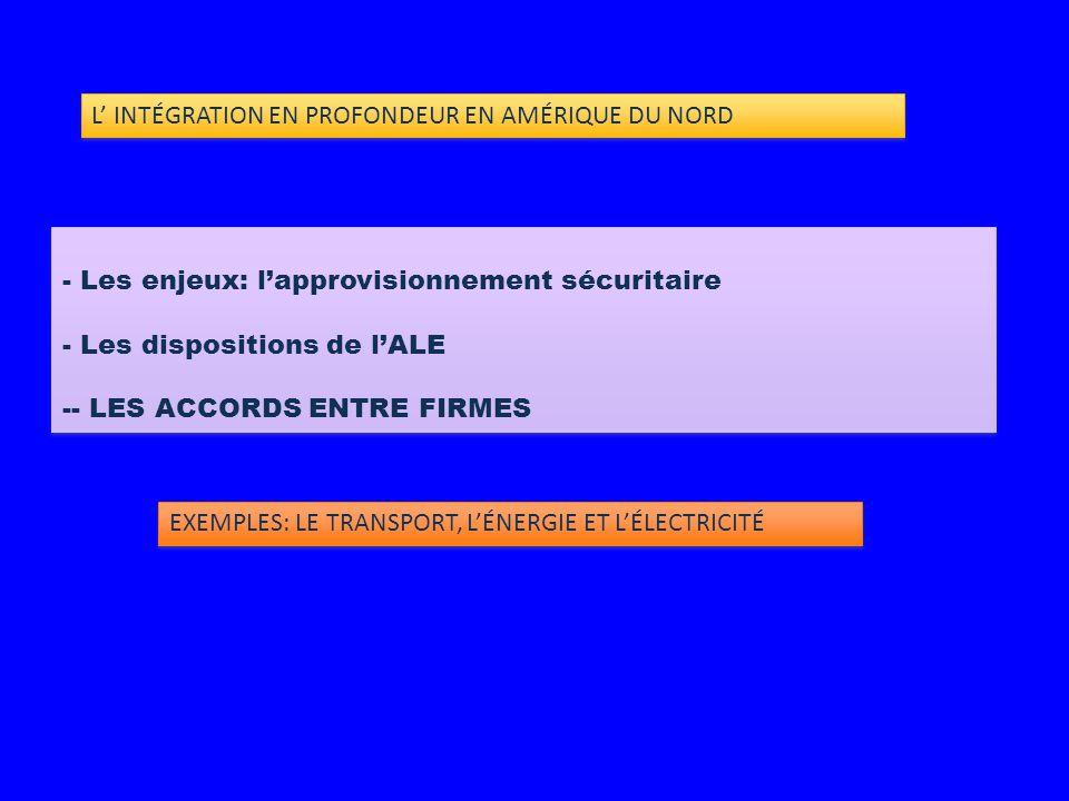- Les enjeux: l'approvisionnement sécuritaire - Les dispositions de l'ALE -- LES ACCORDS ENTRE FIRMES - Les enjeux: l'approvisionnement sécuritaire - Les dispositions de l'ALE -- LES ACCORDS ENTRE FIRMES EXEMPLES: LE TRANSPORT, L'ÉNERGIE ET L'ÉLECTRICITÉ L' INTÉGRATION EN PROFONDEUR EN AMÉRIQUE DU NORD