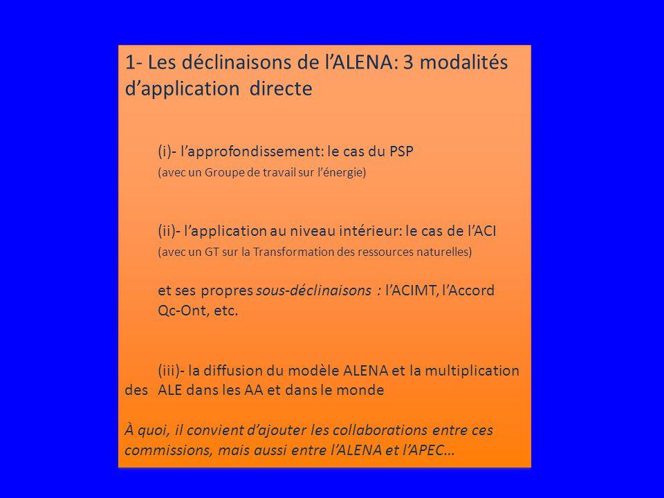 1- Les déclinaisons de l'ALENA: 3 modalités d'application directe (i)- l'approfondissement: le cas du PSP (avec un Groupe de travail sur l'énergie) (ii)- l'application au niveau intérieur: le cas de l'ACI (avec un GT sur la Transformation des ressources naturelles) et ses propres sous-déclinaisons : l'ACIMT, l'Accord Qc-Ont, etc.