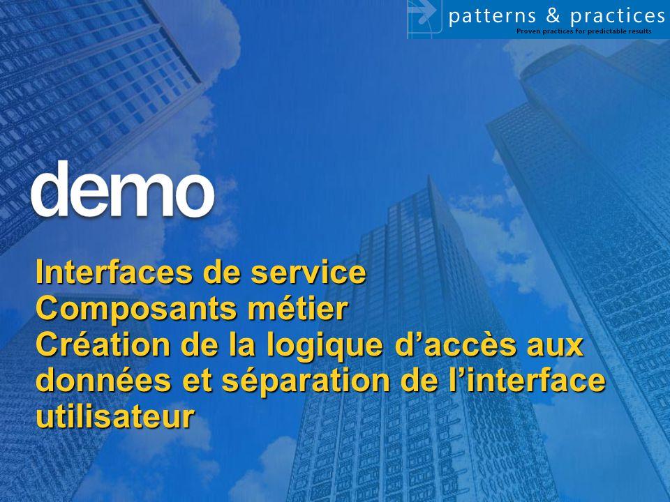 Interfaces de service Composants métier Création de la logique d'accès aux données et séparation de l'interface utilisateur