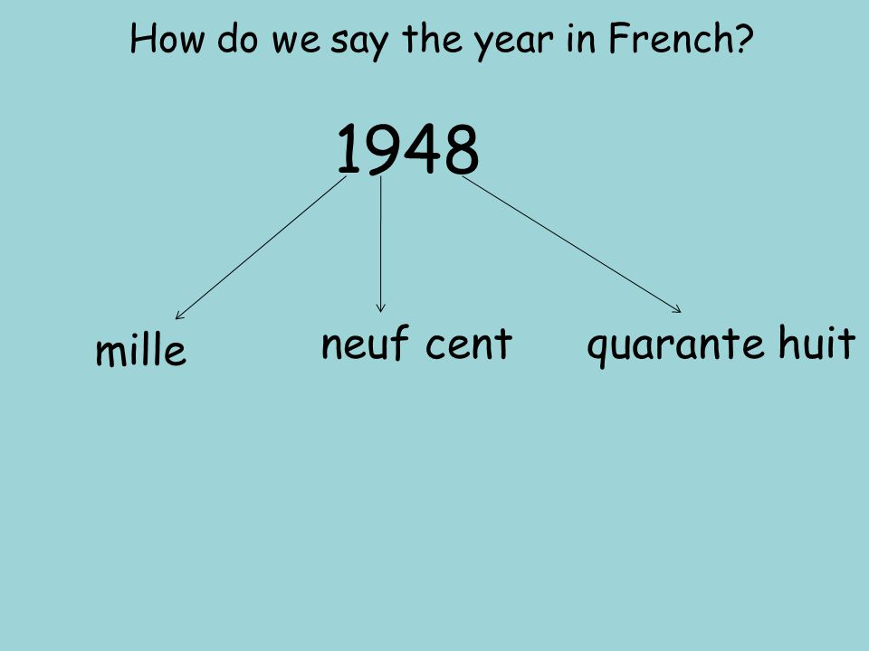 1975 1981 1993 1964 2005 2010 1952 mille neuf cent cinquante deux mille neuf cent soixante quatre mille neuf cent soixante quinze mille neuf cent quatre vingt-et-un mille neuf cent quatre vingt treize deux mille cinq deux mille dix Can you say these dates?