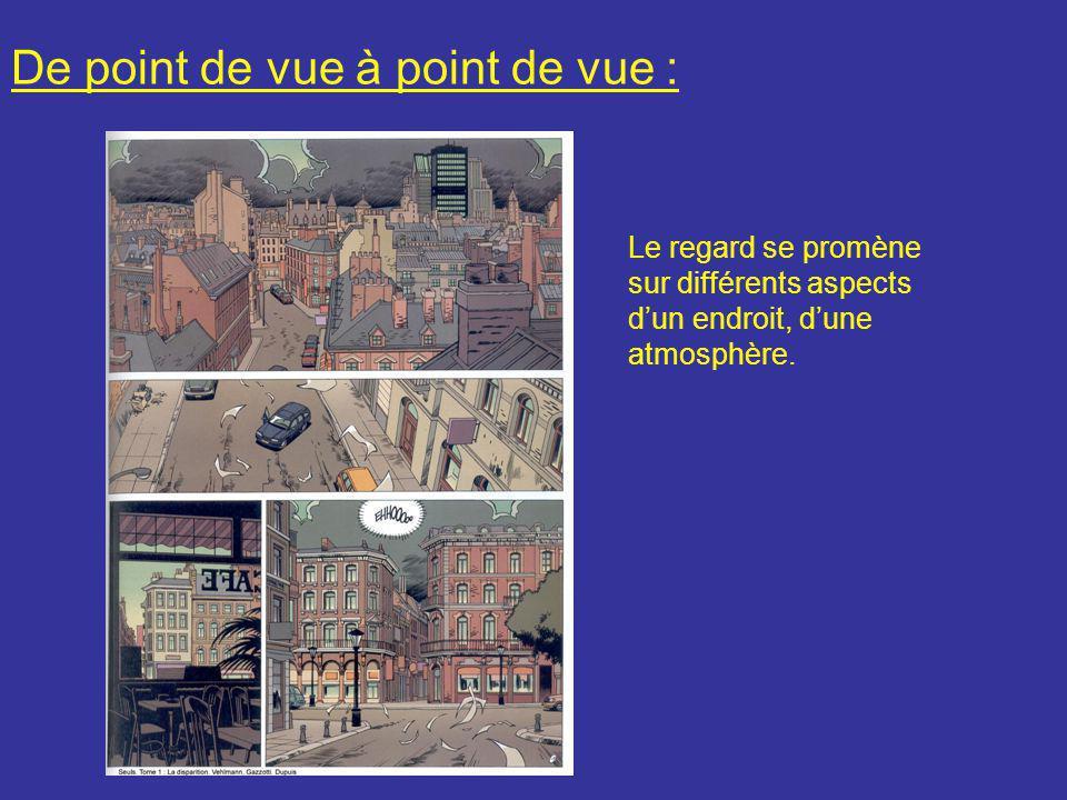 De point de vue à point de vue : Le regard se promène sur différents aspects d'un endroit, d'une atmosphère.