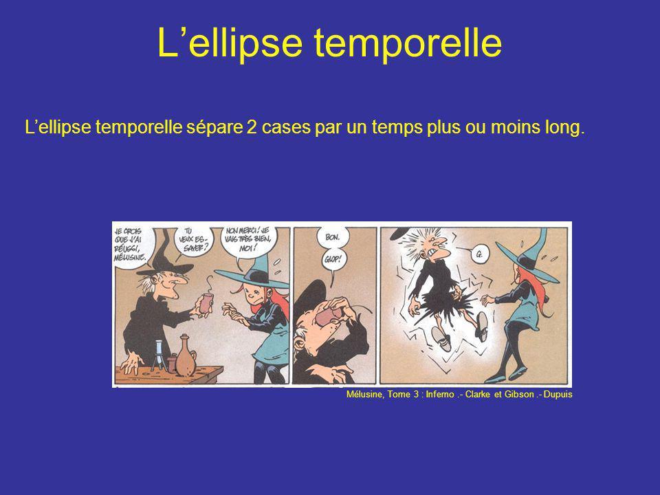 L'ellipse temporelle L'ellipse temporelle sépare 2 cases par un temps plus ou moins long. Mélusine, Tome 3 : Inferno.- Clarke et Gibson.- Dupuis