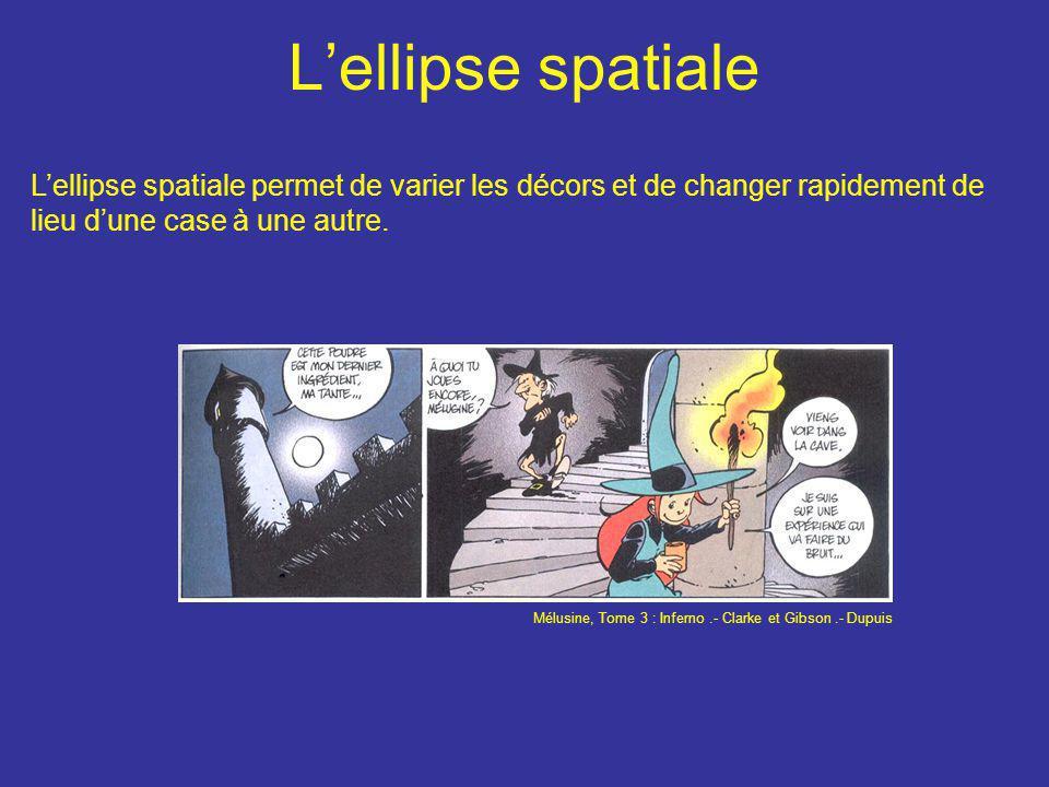 L'ellipse spatiale L'ellipse spatiale permet de varier les décors et de changer rapidement de lieu d'une case à une autre. Mélusine, Tome 3 : Inferno.