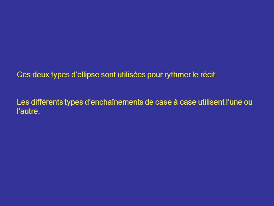 Ces deux types d'ellipse sont utilisées pour rythmer le récit. Les différents types d'enchaînements de case à case utilisent l'une ou l'autre.