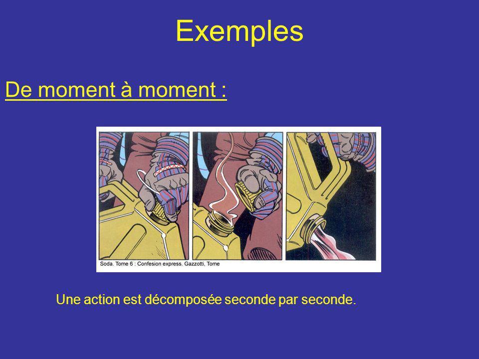 Exemples De moment à moment : Une action est décomposée seconde par seconde.