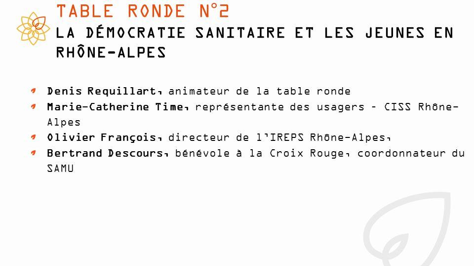 TABLE RONDE N°2 LA DÉMOCRATIE SANITAIRE ET LES JEUNES EN RHÔNE-ALPES Denis Requillart, animateur de la table ronde Marie-Catherine Time, représentante des usagers – CISS Rhône- Alpes Olivier François, directeur de l'IREPS Rhône-Alpes, Bertrand Descours, bénévole à la Croix Rouge, coordonnateur du SAMU