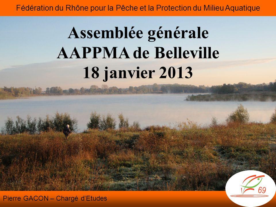 Assemblée générale AAPPMA de Belleville 18 janvier 2013 Fédération du Rhône pour la Pêche et la Protection du Milieu Aquatique Pierre GACON – Chargé d