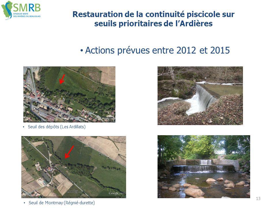 13 Restauration de la continuité piscicole sur seuils prioritaires de l'Ardières Seuil des dépôts (Les Ardillats) Seuil de Montmay (Régnié-durette) Ac