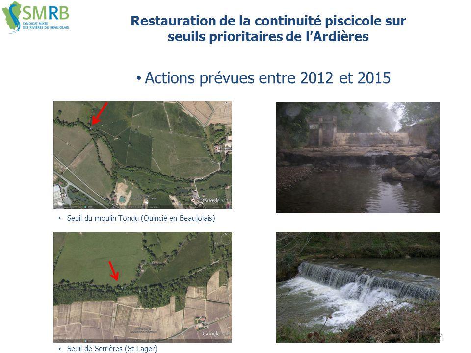14 Restauration de la continuité piscicole sur seuils prioritaires de l'Ardières Seuil du moulin Tondu (Quincié en Beaujolais) Seuil de Serrières (St