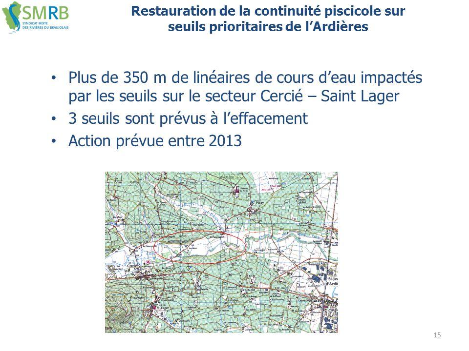 Plus de 350 m de linéaires de cours d'eau impactés par les seuils sur le secteur Cercié – Saint Lager 3 seuils sont prévus à l'effacement Action prévu
