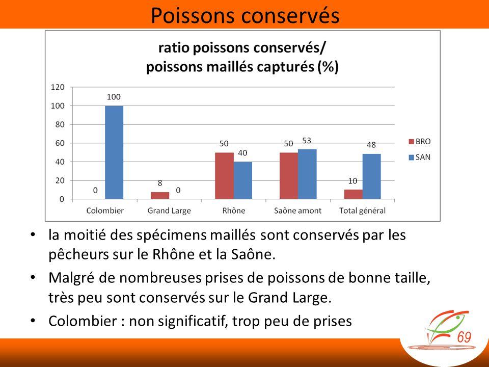 la moitié des spécimens maillés sont conservés par les pêcheurs sur le Rhône et la Saône. Malgré de nombreuses prises de poissons de bonne taille, trè