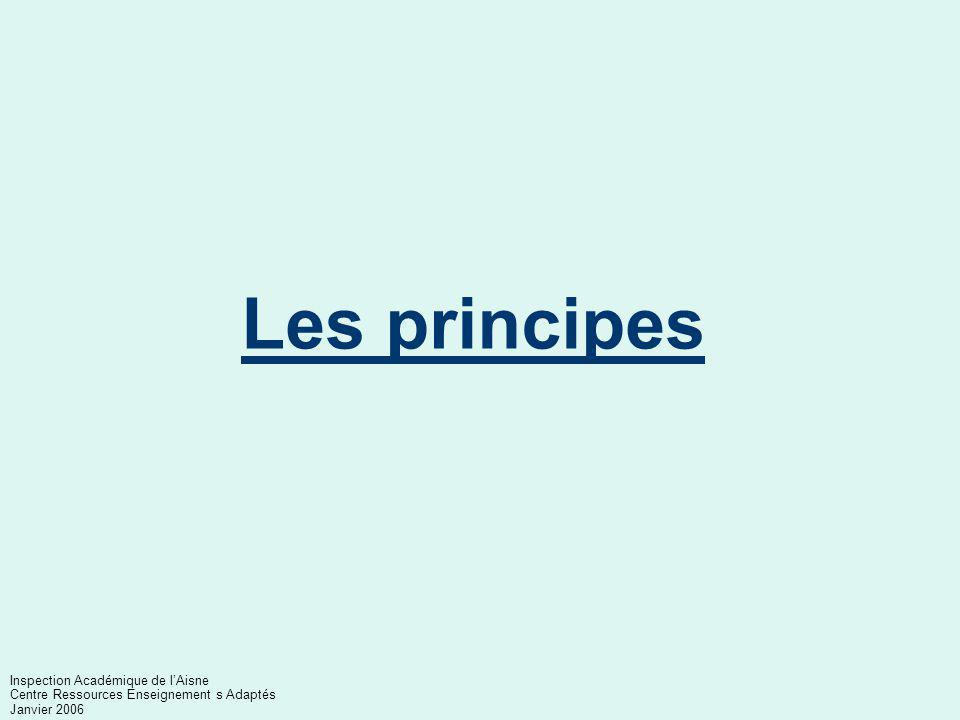 Plan Les principes L'architecture institutionnelle La scolarisation des élèves handicapés Inspection Académique de l'Aisne Centre Ressources Enseignem