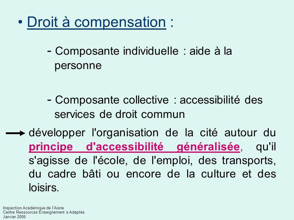 Toute personne handicapée a accès aux droits fondamentaux reconnus à tous les citoyens : Participation à la vie sociale La loi garantit aux personnes