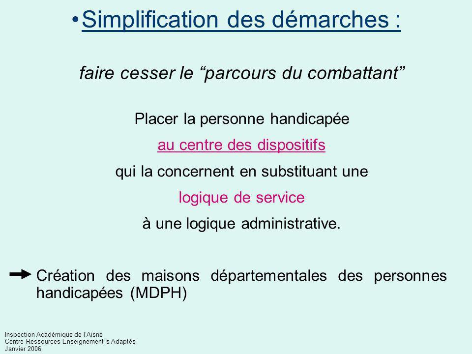 La scolarisation des élèves handicapés Inspection Académique de l'Aisne Centre Ressources Enseignement s Adaptés Janvier 2006