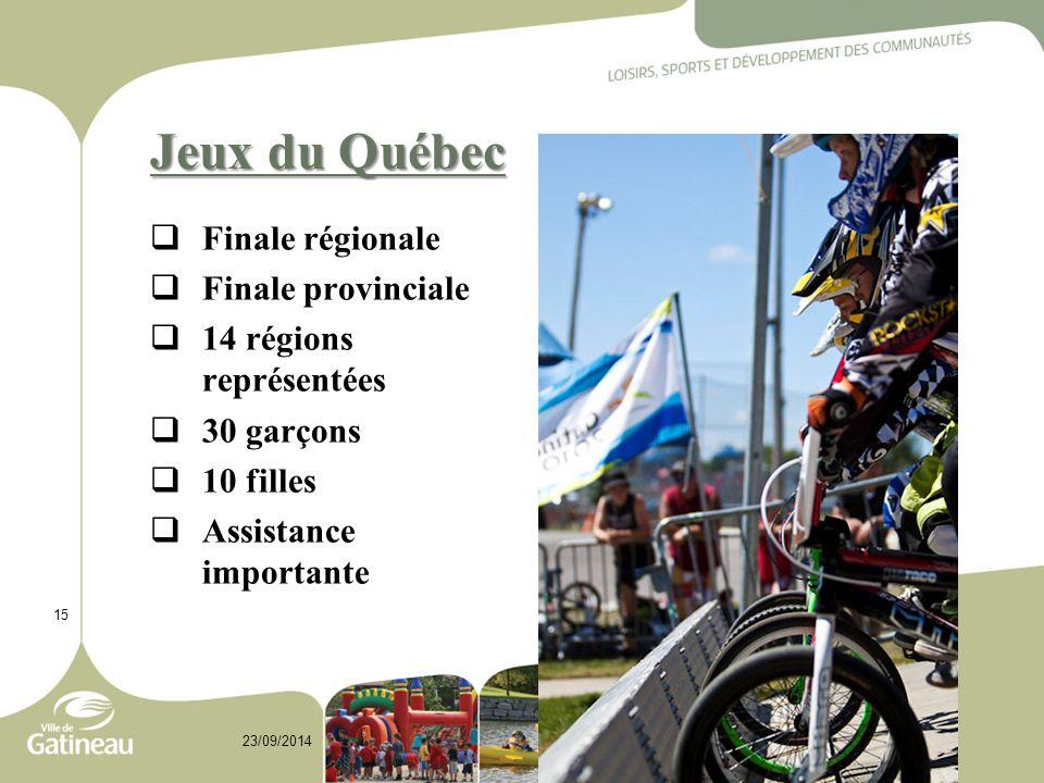Jeux du Québec  Finale régionale  Finale provinciale  14 régions représentées  30 garçons  10 filles  Assistance importante 15 23/09/2014