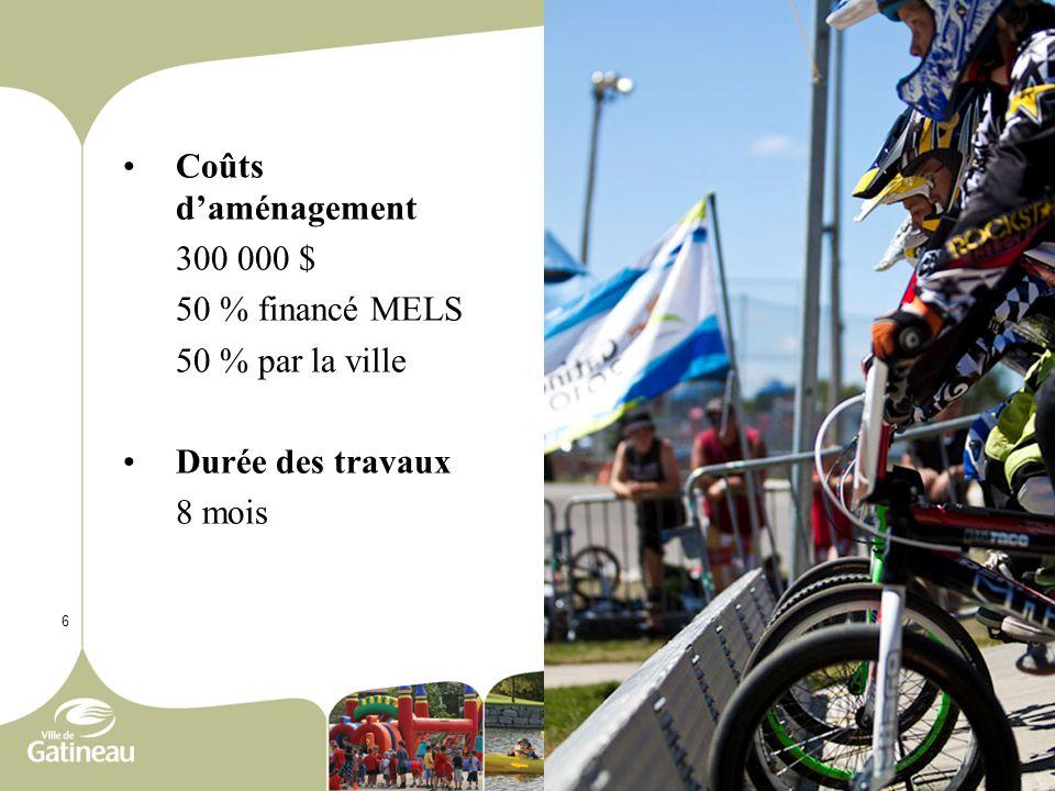 6 Coûts d'aménagement 300 000 $ 50 % financé MELS 50 % par la ville Durée des travaux 8 mois