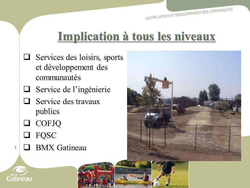 7 Implication à tous les niveaux  Services des loisirs, sports et développement des communautés  Service de l'ingénierie  Service des travaux publics  COFJQ  FQSC  BMX Gatineau