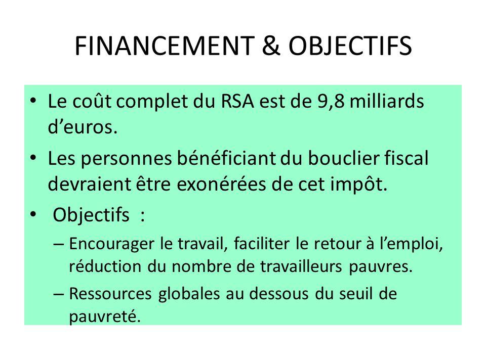 FINANCEMENT & OBJECTIFS Le coût complet du RSA est de 9,8 milliards d'euros. Les personnes bénéficiant du bouclier fiscal devraient être exonérées de