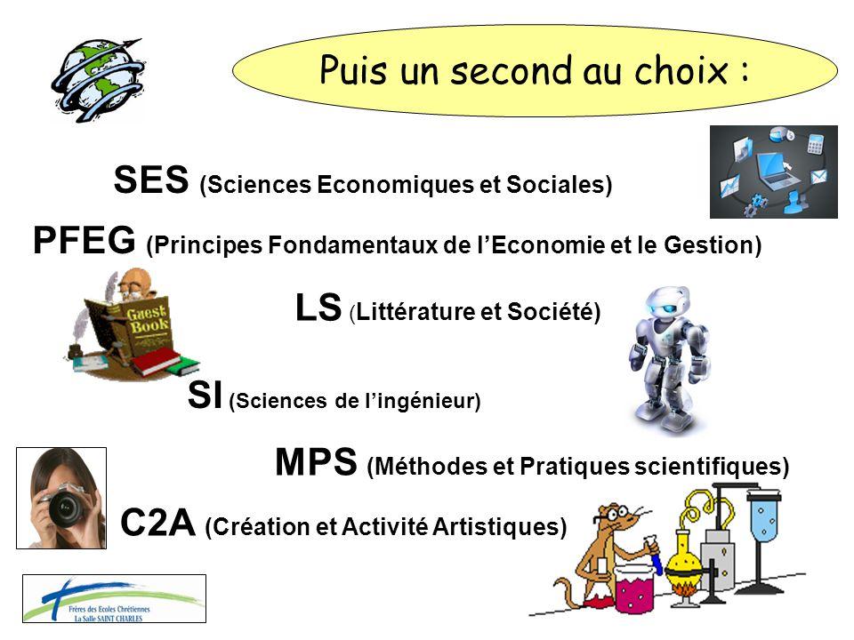 LS ( Littérature et Société) MPS (Méthodes et Pratiques scientifiques) SES (Sciences Economiques et Sociales) SI (Sciences de l'ingénieur) PFEG (Princ